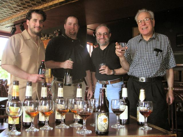 left to right: John Pollack of The Old Vine, host Casey Hard of Max's, and the Brews Brothers - Steve Frank and Arnold Meltzer. Not pictured - Thomas Cizauskas.